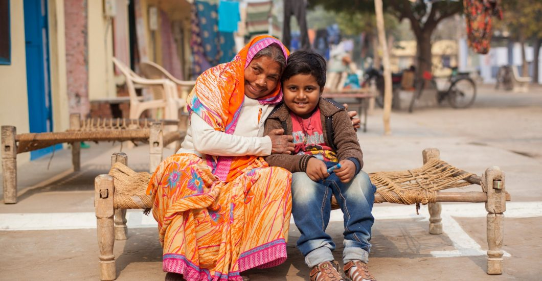 Laxmi and hetr grandson in a leprosy colony in India