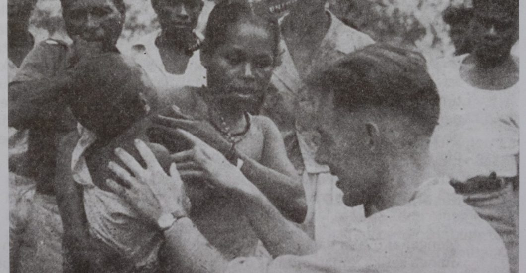 Leprosy doctor Dick Leiker examines a person affected by leprosy