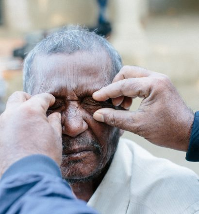Rameswor, a person affected by leprosy, gets his eyes tested