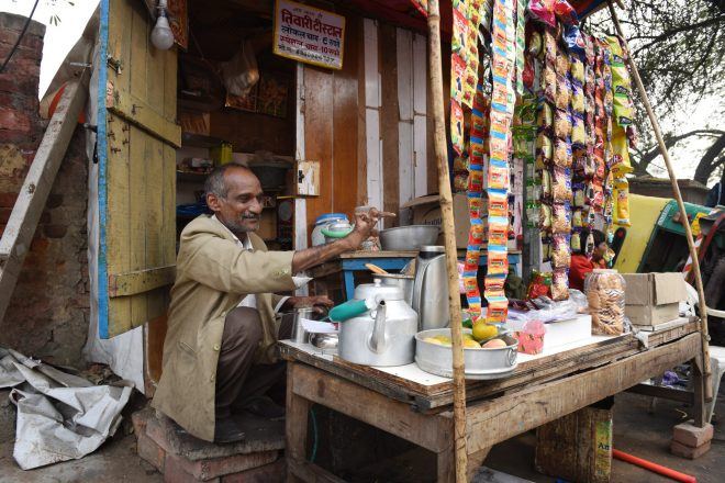 Streetshop of Shivshankar, a person affected by leprosy