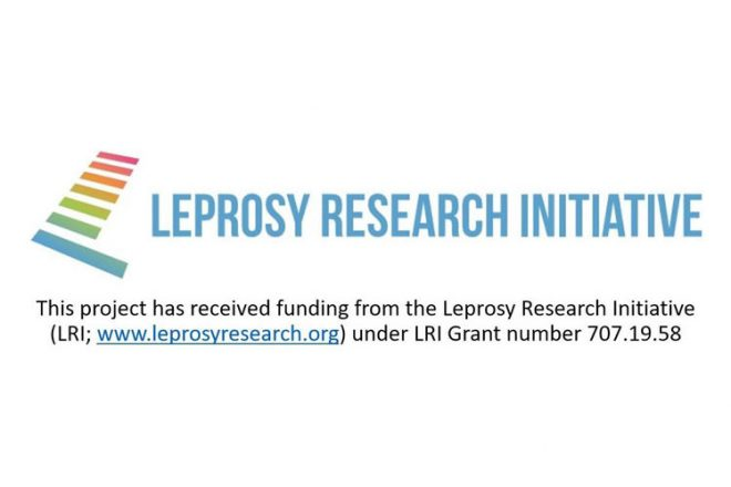 Leprosy Research Initiative logo with project information