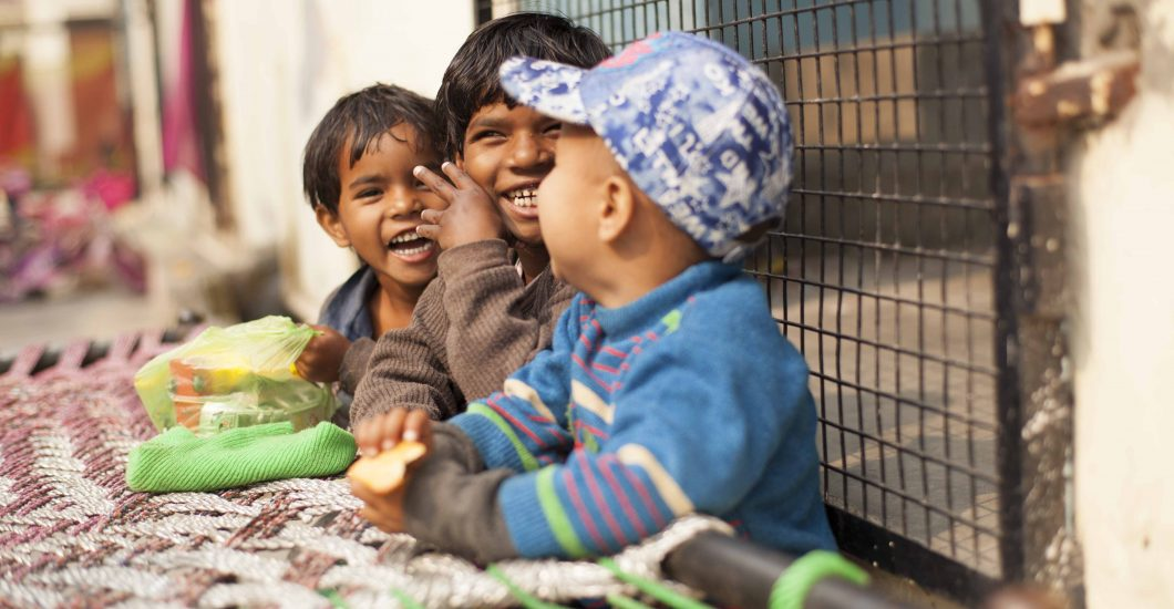 Children living in a leprosy colony in India