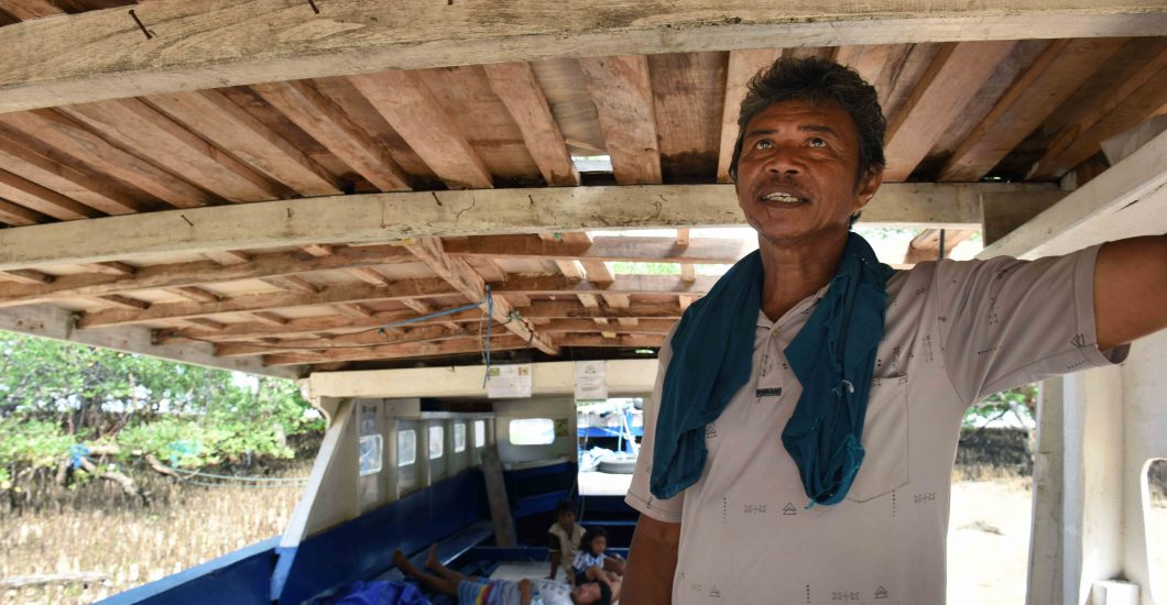Person affected by leprosy Jacob inside his boat and workplace